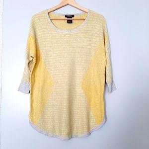 ALISON SHERI 3/4 Sleeve Fine Knit Top Grey Yellow Stripe L